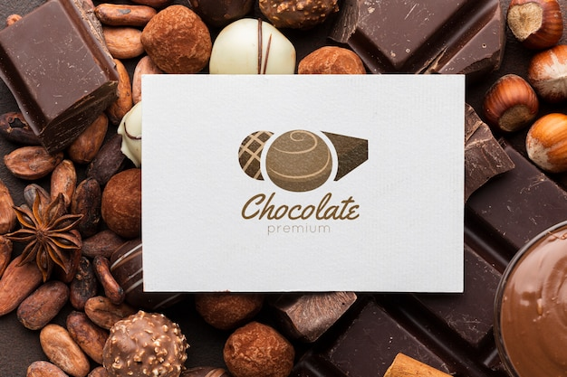 Maquete de deliciosos bombons de chocolate