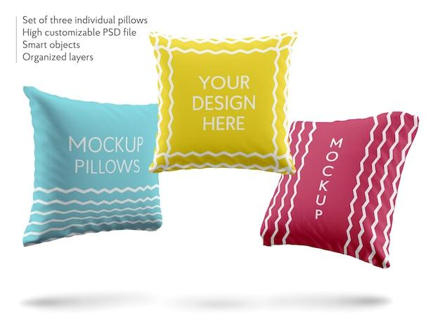 Maquete de design de almofadas macias e fofas