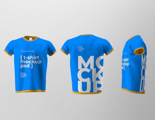 Maquete de design de camiseta isolada com vista frontal, traseira e lateral