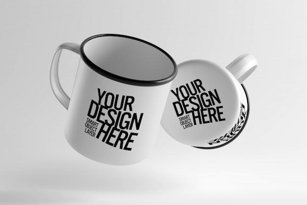 Maquete de design de copo cerâmico