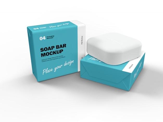 Maquete de design de embalagem 3d da barra de sabão quadrado e duas caixas