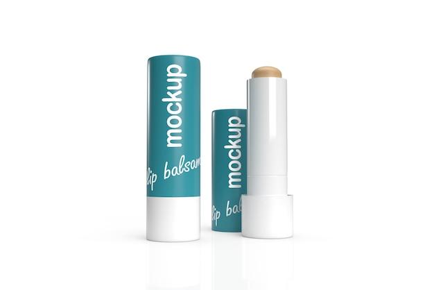 Maquete de design de embalagem 3d de dois bálsamos labiais