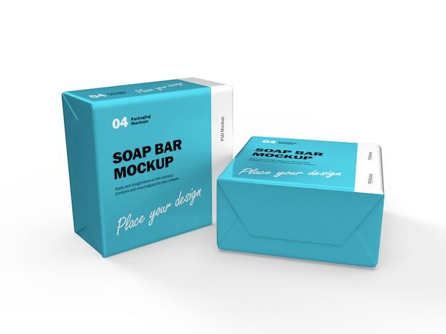 Maquete de design de embalagem 3d de duas caixas de barra de sabão quadrada
