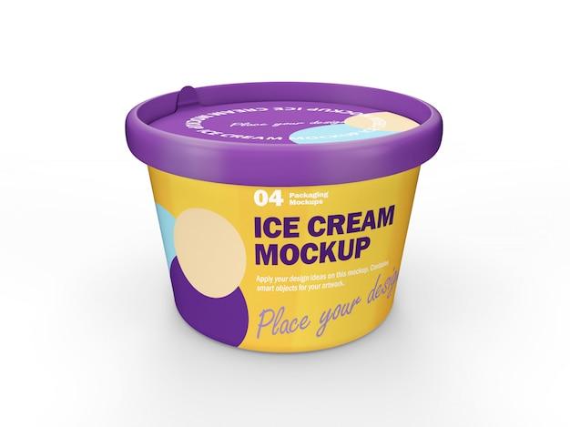 Maquete de design de embalagem 3d de xícara de sorvete