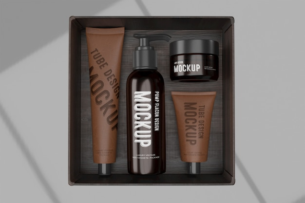 Maquete de design de embalagem 3d do pacote de cosméticos de luxo vintage man