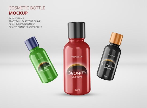Maquete de design de etiqueta cosmética médica plástica âmbar
