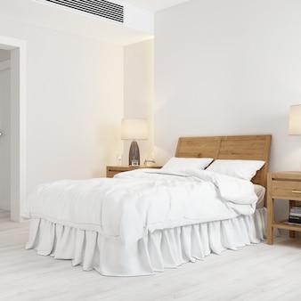 Maquete de design de interiores com cama e apoio de cabeça de cama de madeira