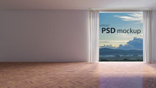 Maquete de design de interiores com grande janela e parede vazia