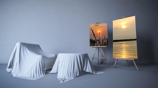 Maquete de design de interiores com lona e sofá
