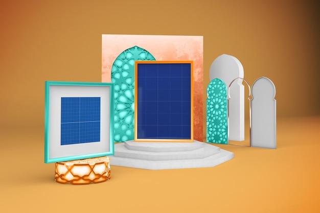 Maquete de design de molduras árabes