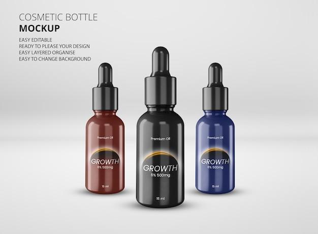 Maquete de design de rótulo cosmético de frasco âmbar
