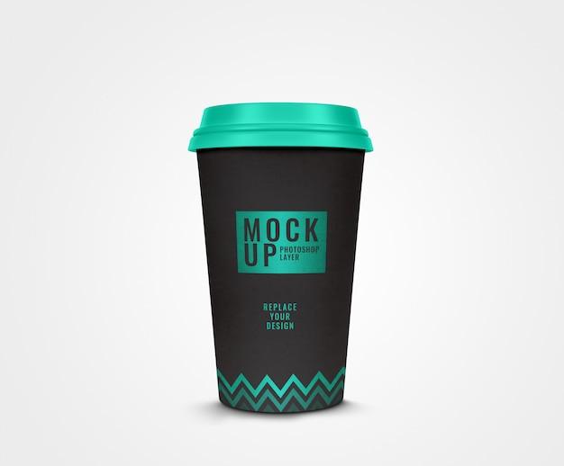 Maquete de design moderno xícara de café preto realista