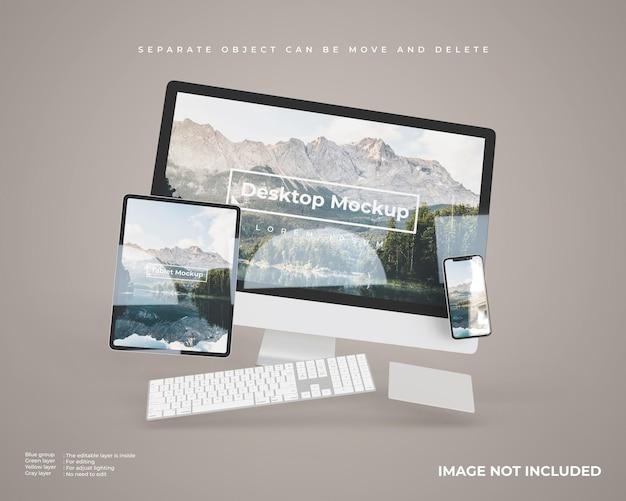 Maquete de desktop flutuante com tablet e smartphone