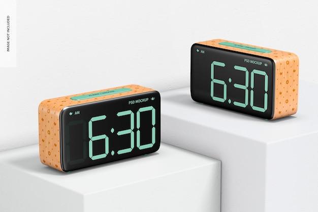 Maquete de despertador de madeira, perspectiva
