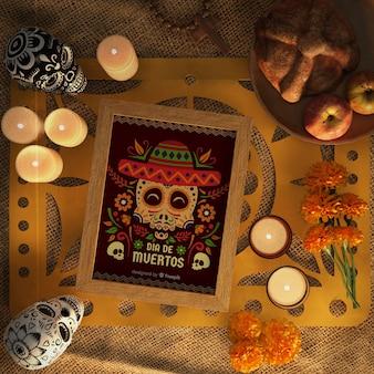 Maquete de dia de muertos vermelho cercado por elementos decorativos