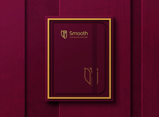 Maquete de diário de luxo dentro da caixa