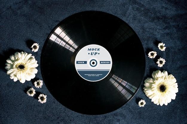 Maquete de disco de vinil preto retrô