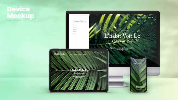 Maquete de dispositivo clássico de tablet smartphone e monitor de computador