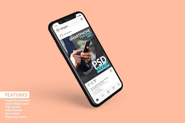 Maquete de dispositivo digital de smartphone flutuando para exibir o modelo de postagem do instagram premium
