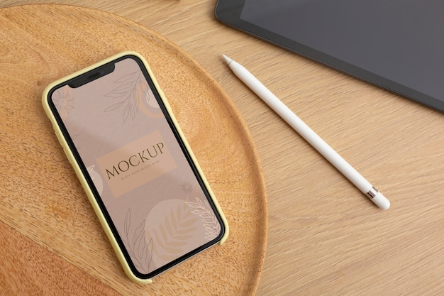 Maquete de dispositivo minimalista em contexto real