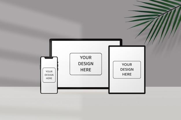 Maquete de dispositivo mínimo com sombra
