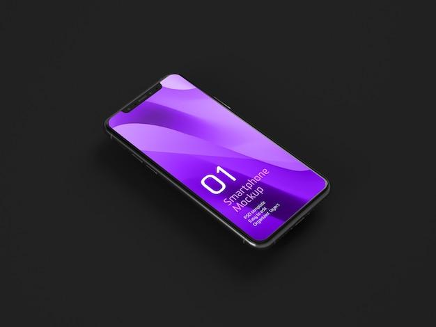 Maquete de dispositivo móvel escuro