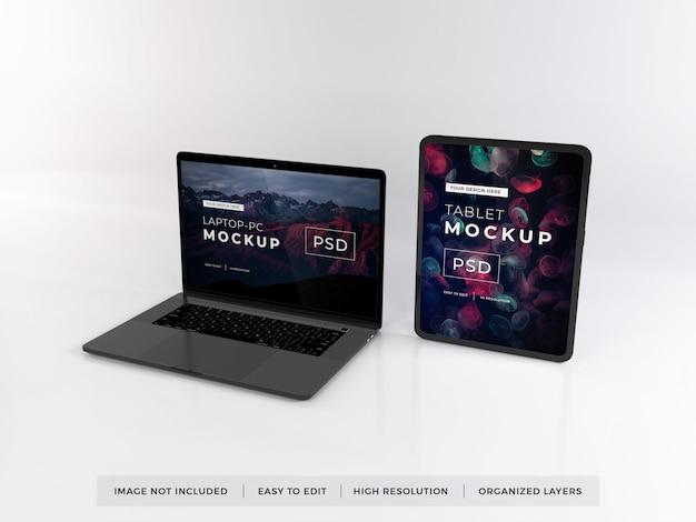 Maquete de dispositivo portátil e tablet realista