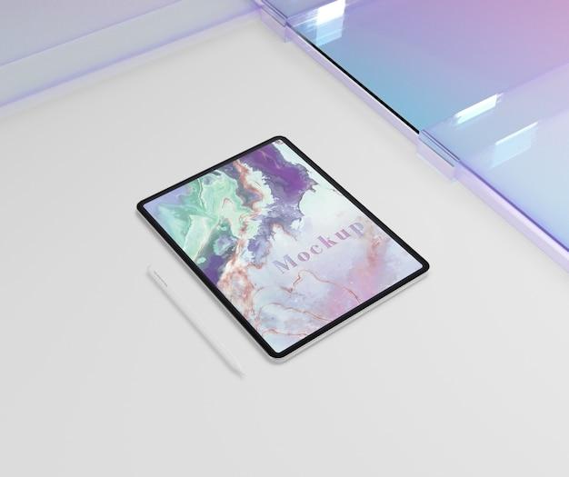 Maquete de dispositivo tablet com vidro transparente