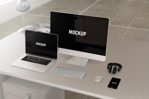 Maquete de dispositivos de computação