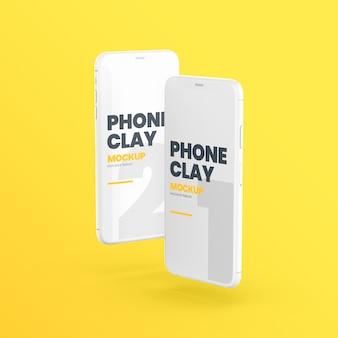 Maquete de dispositivos de telefone de argila flutuante