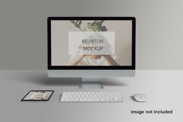 Maquete de dispositivos de vários monitores premium
