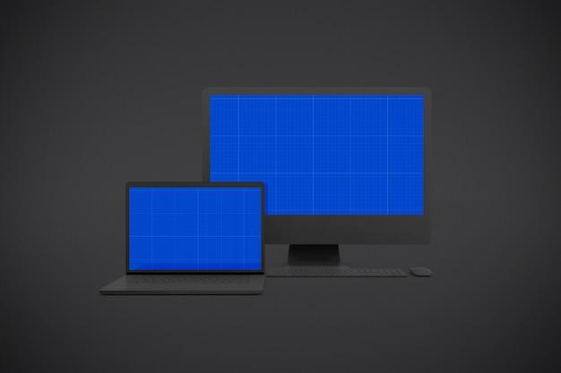 Maquete de dispositivos escuros