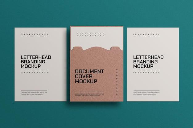 Maquete de documento a4 em papel artesanal