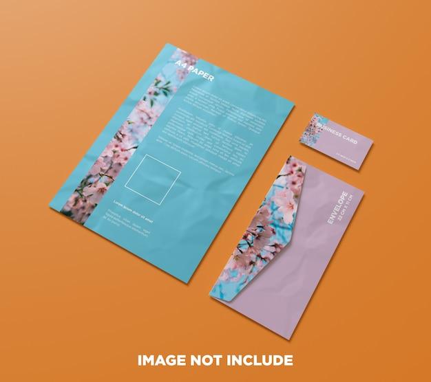 Maquete de documento, papel a4, envelope e cartão de visita