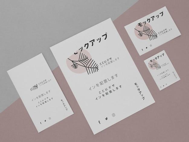 Maquete de documentos corporativos de negócios japoneses