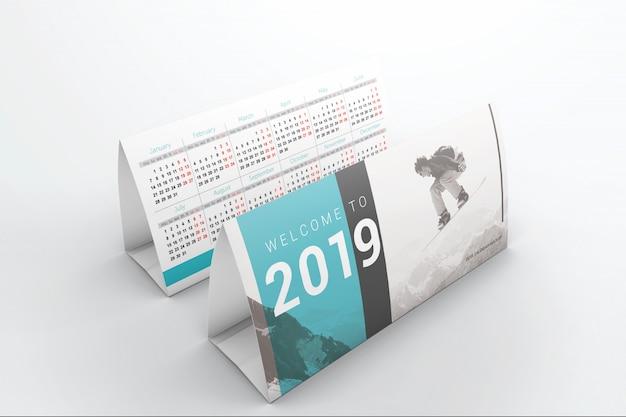 Maquete de dois calendários de mesa