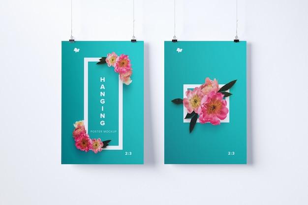 Maquete de dois cartazes pendurados