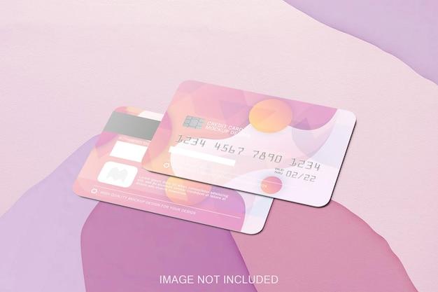 Maquete de dois cartões de crédito isolados