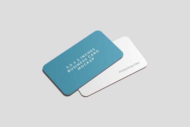 Maquete de dois cartões de visita arredondados