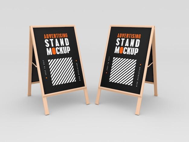Maquete de dois estandes de publicidade