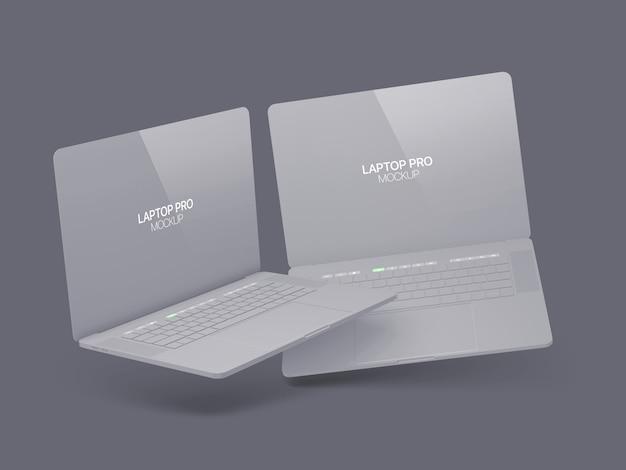 Maquete de dois laptop flutuante