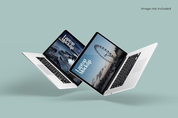 Maquete de dois laptops flutuantes