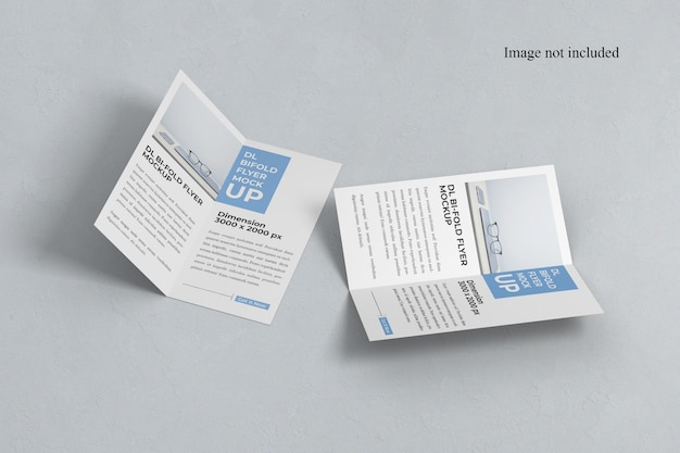 Maquete de dois panfletos bi-fold aberta