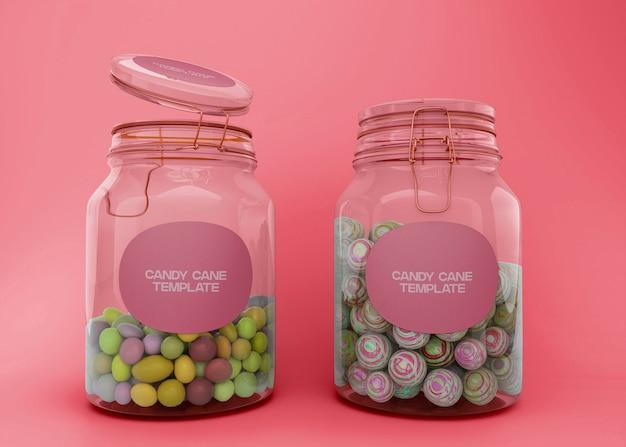 Maquete de dois potes de doces