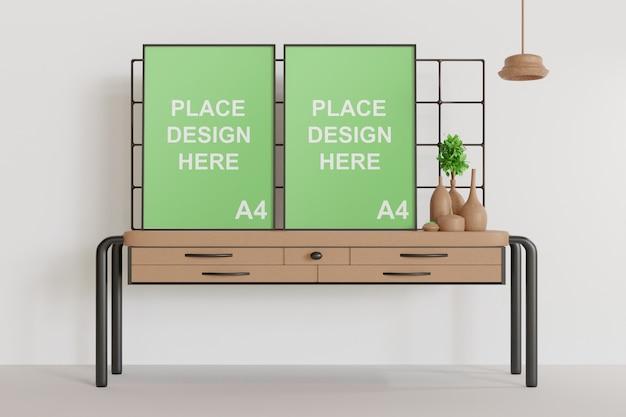 Maquete de dois quadros em pé sobre a mesa