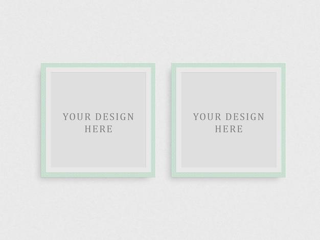 Maquete de dois quadros quadrados e fundo branco