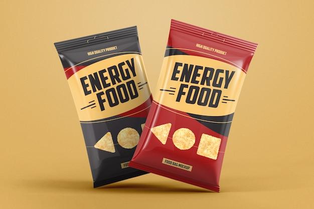 Maquete de dois sacos de comida de folha de gravidade