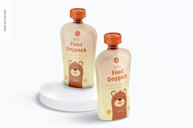 Maquete de doypacks de comida para bebês