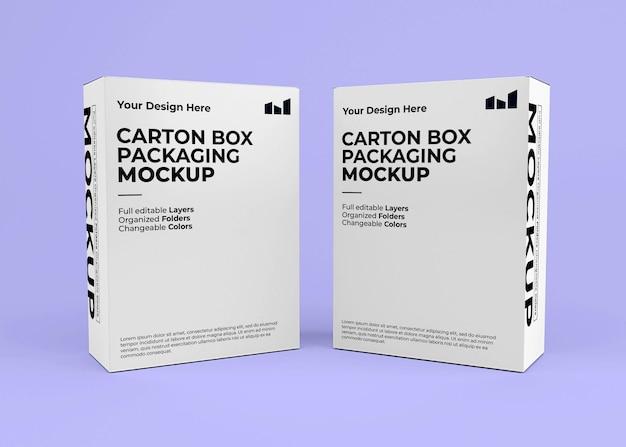 Maquete de duas caixas de papelão para a marca do produto