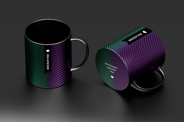 Maquete de duas canecas pretas com design de superfície editável